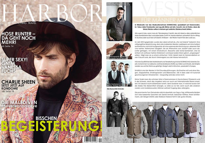 DORNSCHILD und seine Herrenwesten für Männer mit Stil in dem HARBOR Fashion-Magazin.