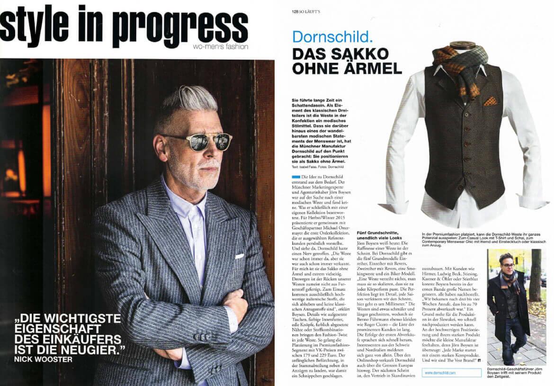 """Die STYLE IN PROGRESS präsentiert DORNSCHILD als """"das Sakko ohne Ärmel""""."""