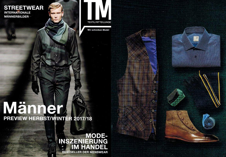 Die neue DORNSCHILD Herrenwesten Kollektion in dem Fashion-Fachmagazin TEXTILMITTEILUNG.