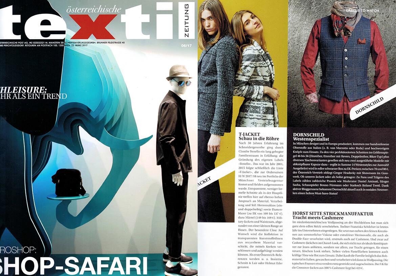 DORNSCHILD as label to watch in the fashion trade magazine TEXTILZEITUNG.