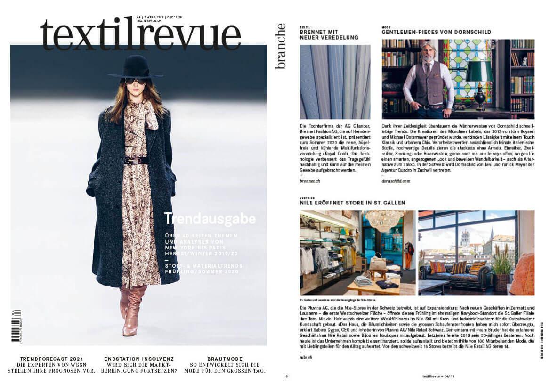 The Swiss fashion magazine TEXTILREVUE reports about DORNSCHILD and its men's vests for modern gentlemen.