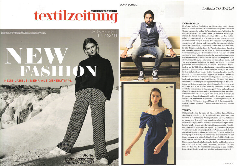 Das Mode-Fachmagazin TEXTILZEITUNG berichtet über DORNSCHILD und seine Herrenwesten als Geheimtipp.