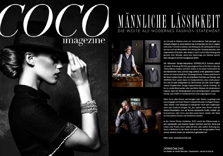 Das luxuriöse Lifestyle-Magazin COCO empfiehlt DORNSCHILD als schick lässige Must-Have Westen Marke.