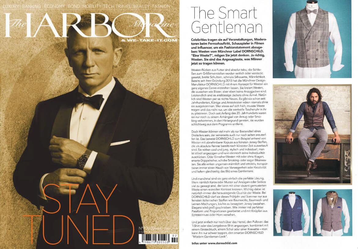 Die Jubiläums-Ausgabe von dem Premium Männermagazin HARBOR präsentiert DORNSCHILD und seine Herrenwesten als außergewöhnliches Gentleman Brand.
