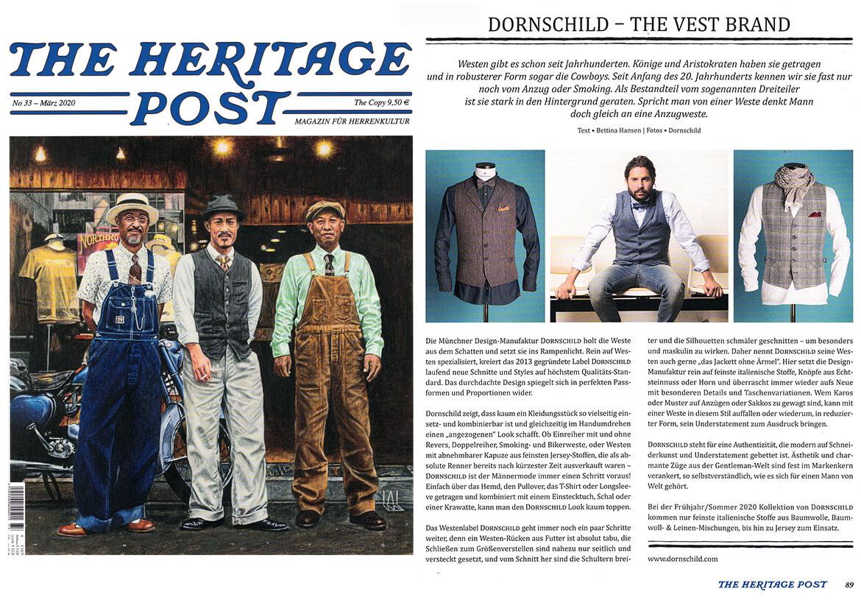 THE HERITAGE POST berichtet über DORNSCHILD als besondere Herrenwesten Marke.