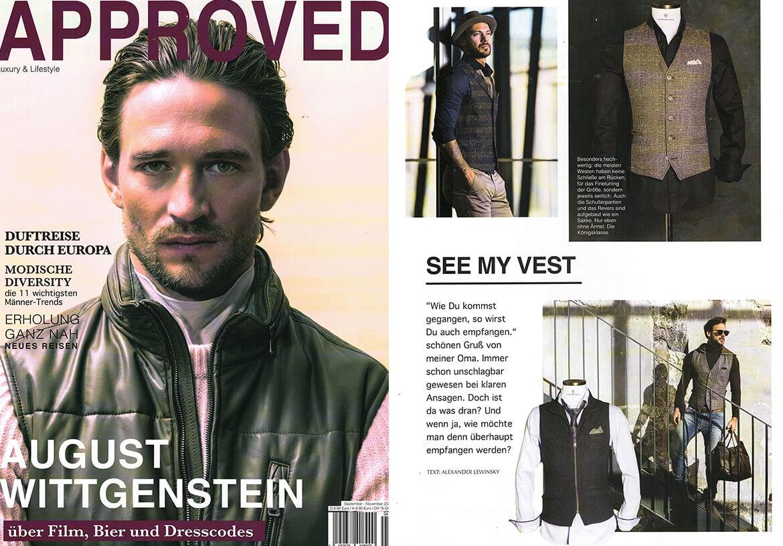 Das Premium Männermagazin APPROVED stellt DORNSCHILD als außergewöhnliches Herrenwesten-Label prominent vor.