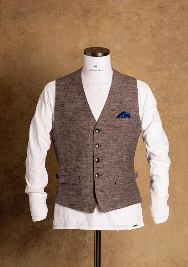 Schick lässige und braun grau melierte Einreiher Herren Weste auch Gilet genannt aus feinstem italienischen Stoff von DORNSCHILD