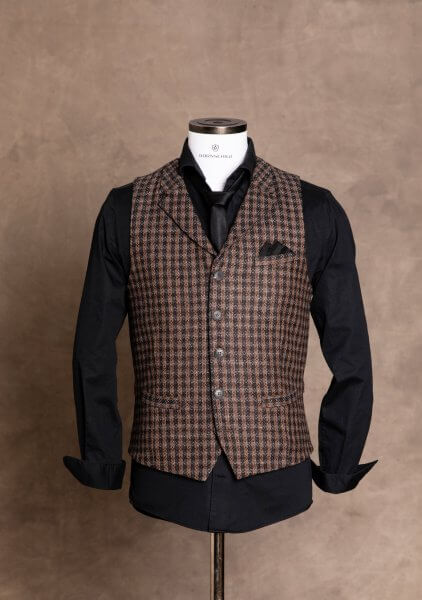 Stylish, elegant and smart premium men's vest gilet from DORNSCHILD with collar brown anthracite striped with subtle silver-gray stripes .