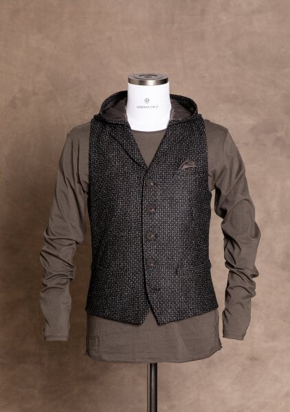 Sporty chic and fashionable premium men's vest from DORNSCHILD with removable hood Black Gray patterned for a casual and stylish appearance.