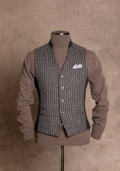 Fashionable, chic and noble men's vests from DORNSCHILD with stand-up collar dark gray, light gray and cognac colors striped from the finest Italian fabric for a stylish and elegant appearance.