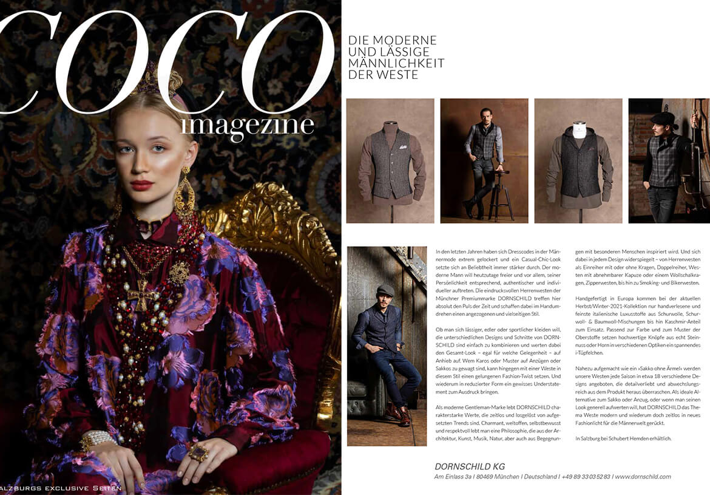 Das Luxusmagazin COCO findet die Herrenwesten von DORNSCHILD modern, lässig und männlich.